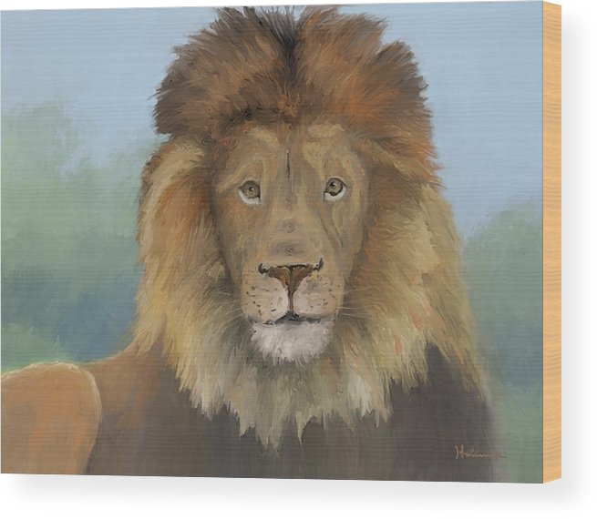 Lion Wood Print featuring the painting Aslan by Suryadas Joel Holliman