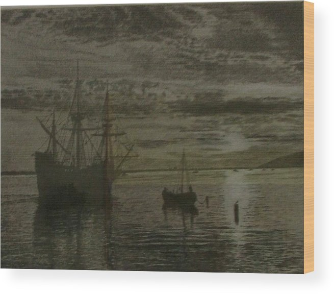 Ship Wood Print featuring the drawing At Dock by Dan Hausel