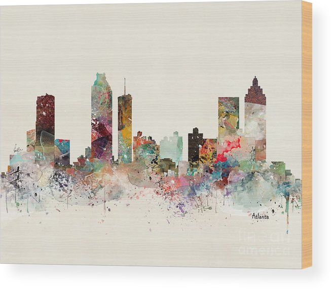 Atlanta Skyline Wood Print featuring the painting Atlanta Georgia Skyline by Bri Buckley