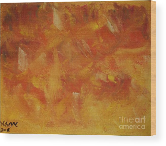 Abstract Wood Print featuring the painting Autum Turmoil by William j Welke