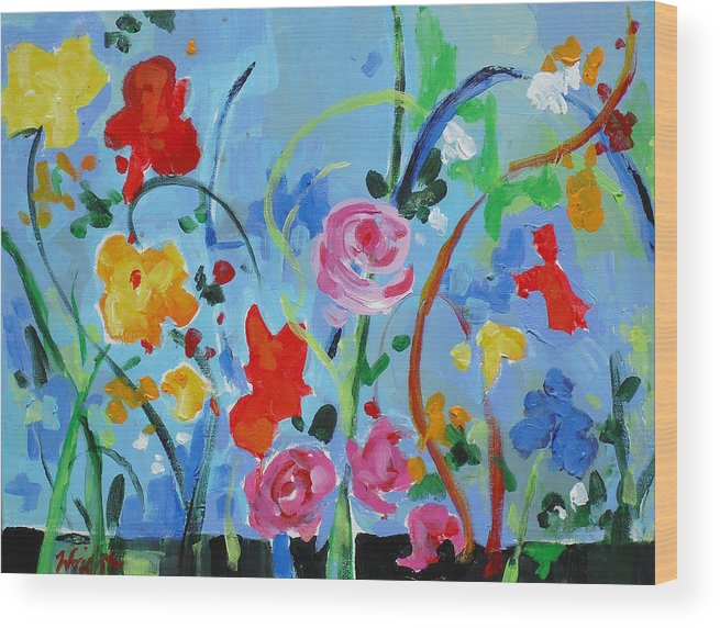 Contemporary Wood Print featuring the painting Avant Garden by Molly Wright