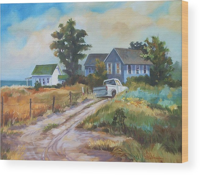 Landscape Wood Print featuring the painting Back Road By The Bay by Dianna Willman