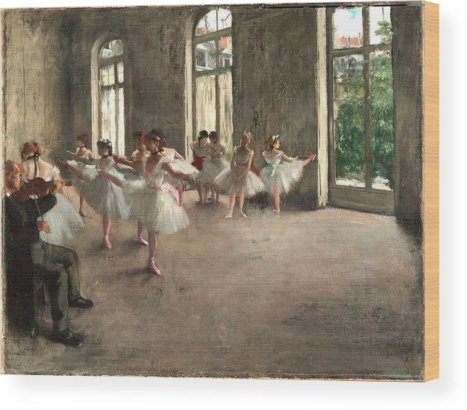 977b0995ec19 Ballet Rehearsal In 1873 Wood Print by Edgar Degas