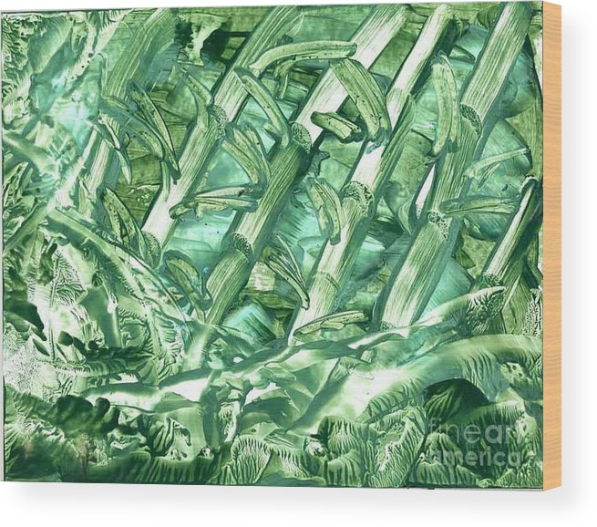 Abstract Wood Print featuring the painting Bamboo Forest by Heather Hennick
