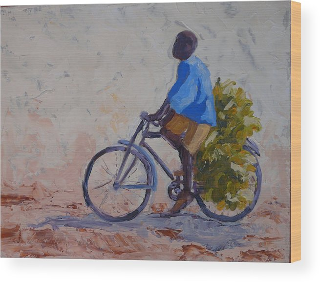 Bicycle Wood Print featuring the painting Bananas by Yvonne Ankerman
