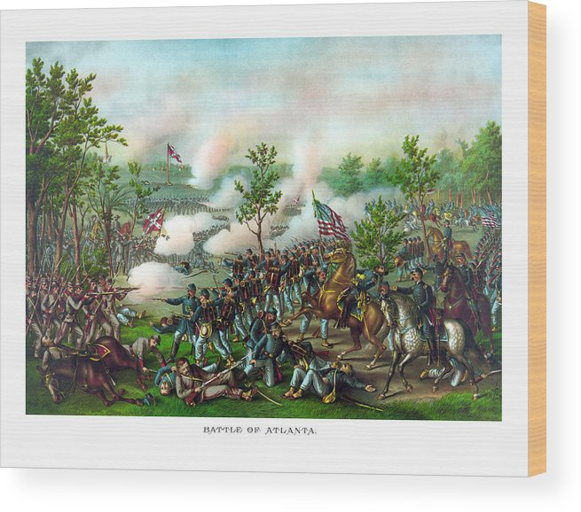 Battle Of Atlanta Wood Print featuring the painting Battle Of Atlanta by War Is Hell Store