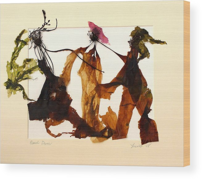 Feet Wood Print featuring the mixed media Beach Dance by Lisabeth Billingsley