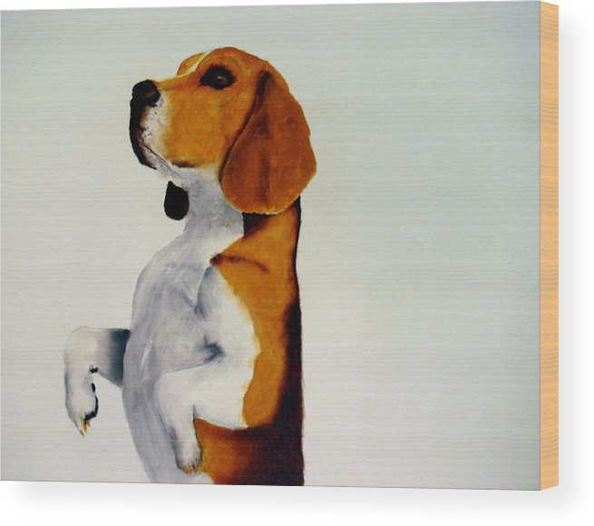 Beagle Wood Print featuring the painting Beagle by Dick Larsen