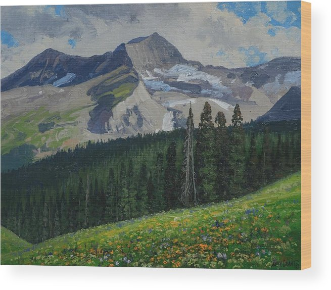 Landscape Wood Print featuring the painting Bear Peak by Lanny Grant