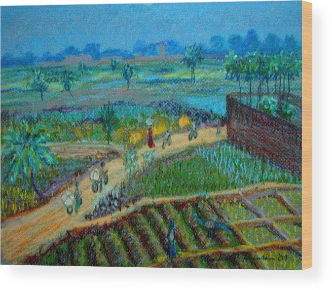 Artnomad Wood Print featuring the pastel Betawar Road by Art Nomad Sandra Hansen
