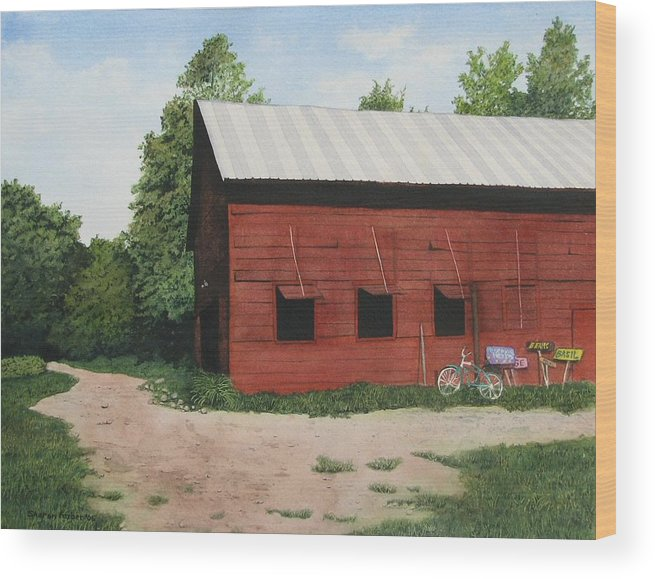Landscape Wood Print featuring the painting Big Red Barn by Sharon Farber