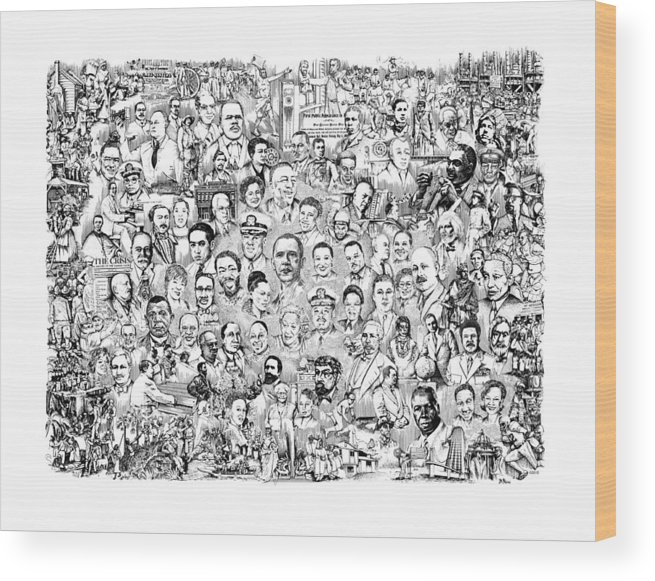 Black History Wood Print featuring the drawing Black Heritage by Dennis Bivens