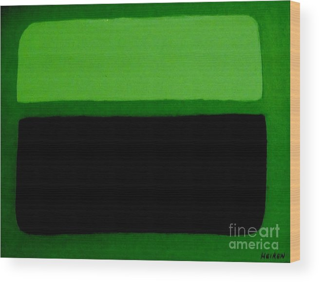 Painting Wood Print featuring the painting Black On Dark Green And Medium Green by Marsha Heiken