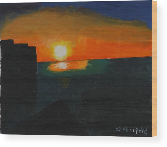 Seascape Wood Print featuring the painting Blazing Sunset by Harris Gulko