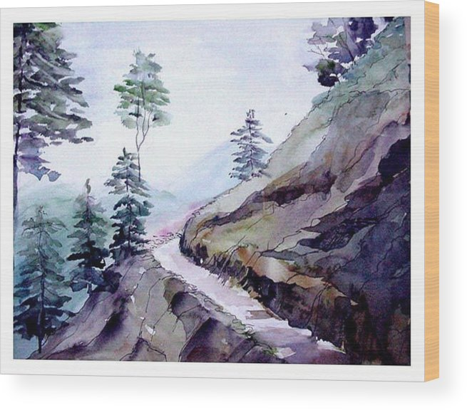 Landscape Wood Print featuring the painting Blue Hills by Anil Nene
