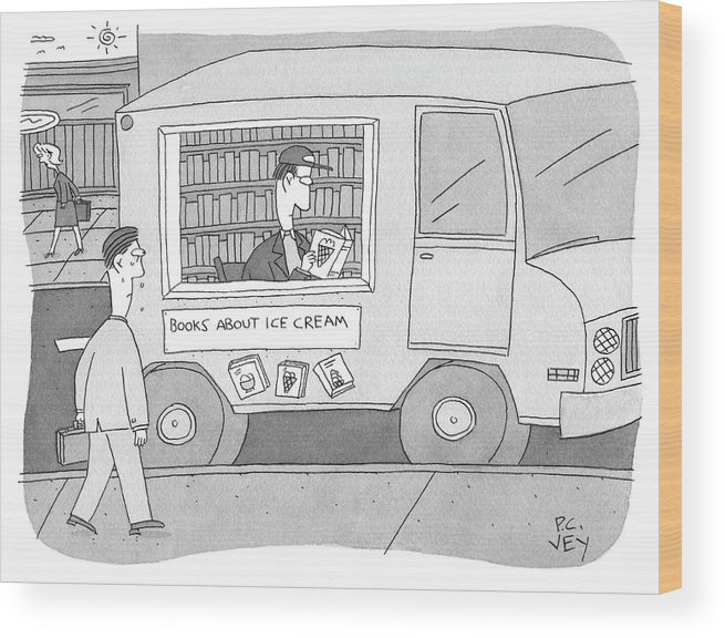 Ice Cream Wood Print featuring the drawing Books About Ice Cream by Peter C Vey