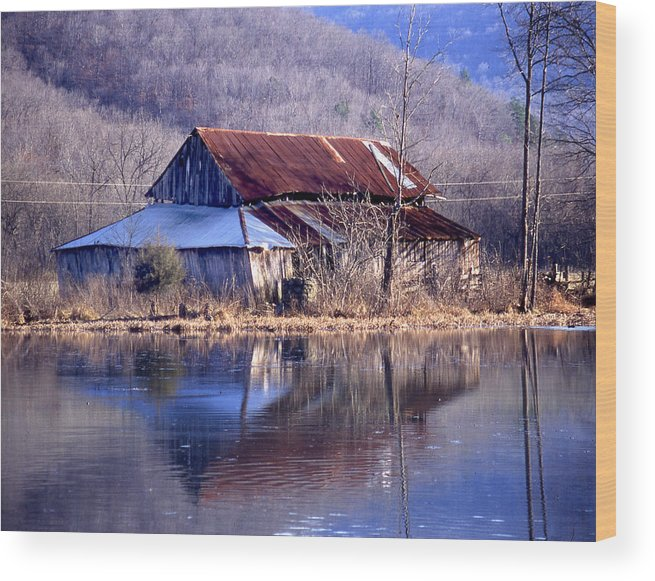 Wood Print featuring the photograph Boxely Barn Reflection by Curtis J Neeley Jr