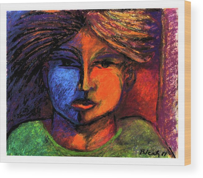 Abstract Wood Print featuring the painting Boy In A Green Shirt by Brad Bleich