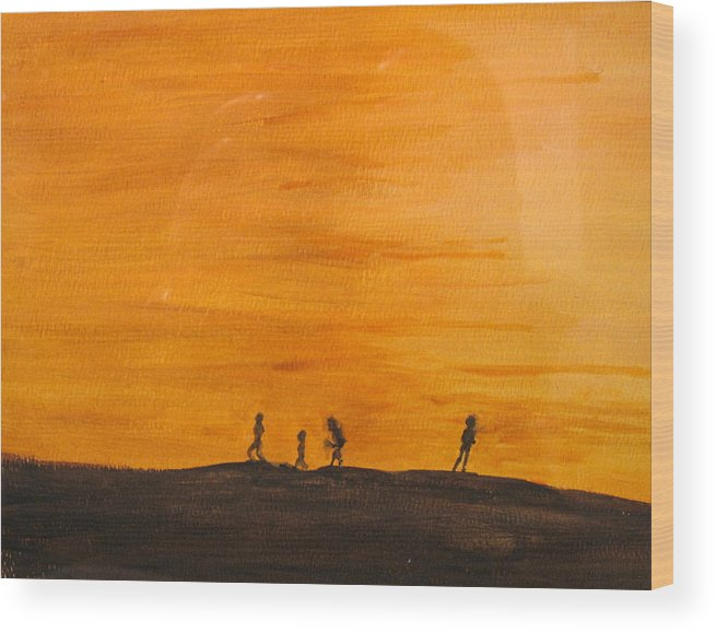 Boys Wood Print featuring the painting Boys At Sunset by Ian MacDonald