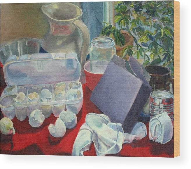 Still Life Wood Print featuring the painting Breakfast Tablescape by Stephanie Allison