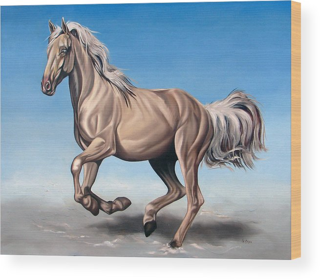 Horse Wood Print featuring the painting Breeze by Ilse Kleyn