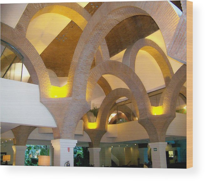Art Wood Print featuring the pyrography Brick Arches by George Pasini