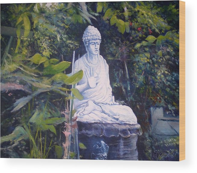 Budha Wood Print featuring the painting Budha Ubud Bali Indonesia 2008 by Enver Larney