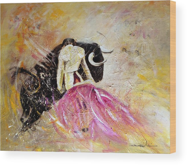 Animals Wood Print featuring the painting Bullfight 74 by Miki De Goodaboom