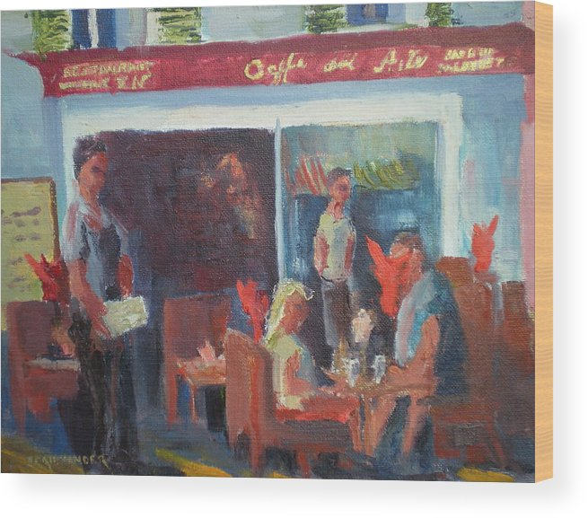 French Cafe Wood Print featuring the painting Cafe Dell Arte by Bryan Alexander