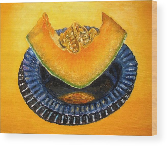 Cantaloupe Wood Print featuring the painting Cantaloupe Oil Painting by Natalja Picugina