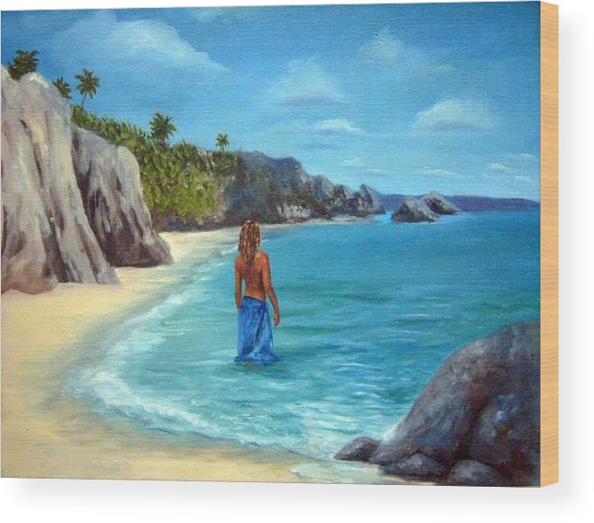 Landscape Wood Print featuring the painting Caribean Dreaming by Anne Kushnick
