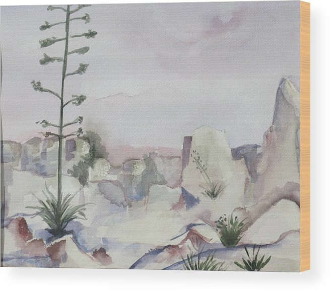 Landscape Wood Print featuring the painting Century Plant by Kathy Mitchell