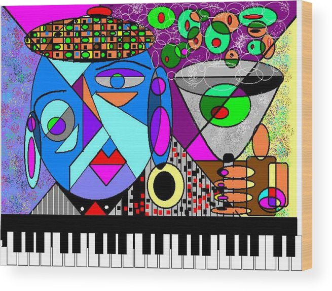 Music Wood Print featuring the digital art Cheers2 by George Pasini