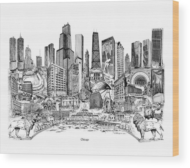 City Drawing Wood Print featuring the drawing Chicago by Dennis Bivens