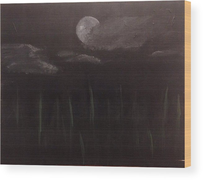 Night Wood Print featuring the painting Chilly Night by Alyssa Davila