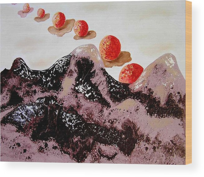 Wood Print featuring the painting Chocolate Mountains by Evguenia Men