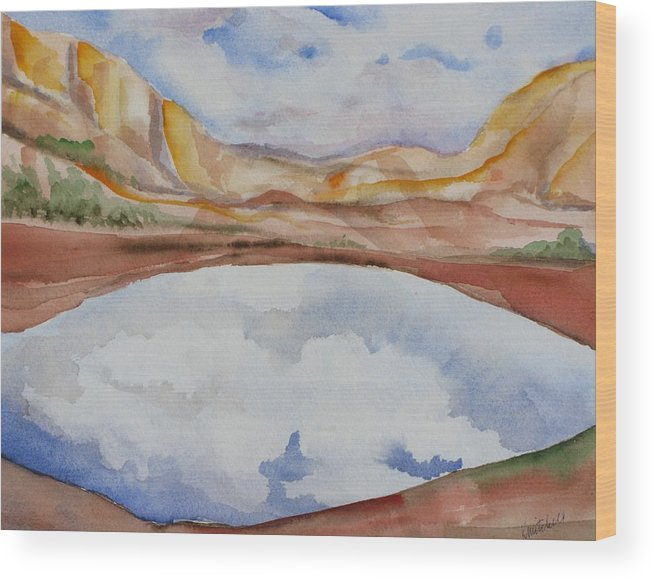 Landscape Wood Print featuring the painting Cloudy Reflections by Kathy Mitchell