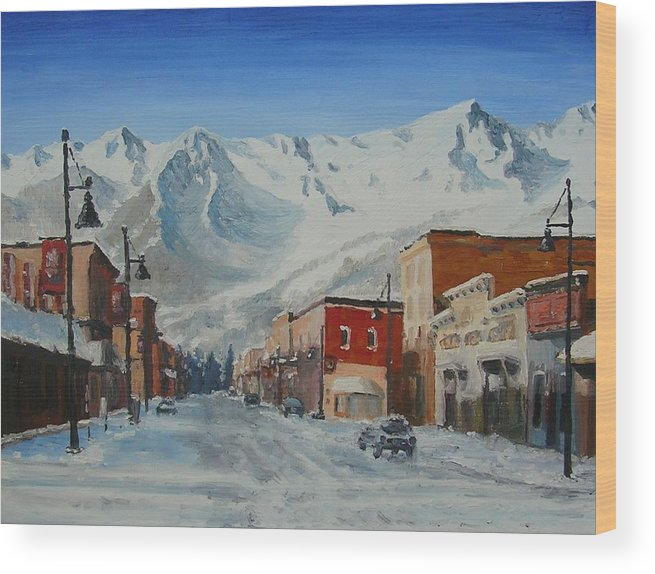 Cityscape Wood Print featuring the painting Cold Montain by Janos Szatmari
