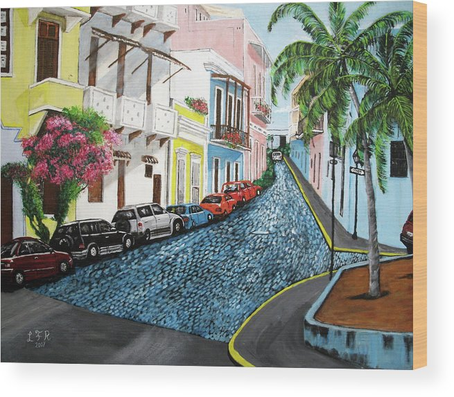 Old San Juan Wood Print featuring the painting Colorful Old San Juan by Luis F Rodriguez
