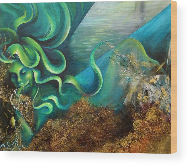 Ocean Wood Print featuring the painting Confessions Of A Mermaid by Dina Dargo