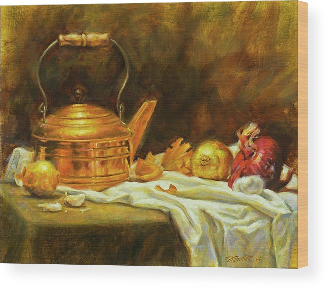 Copper Kettle Wood Print featuring the painting Copper And Onions by Dan Bulleit