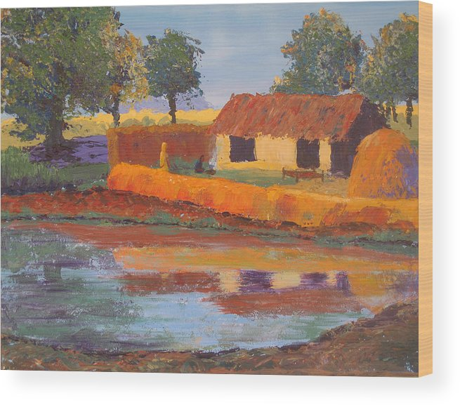 Cottage Wood Print featuring the painting Cottage By The Pond by Art Nomad Sandra Hansen