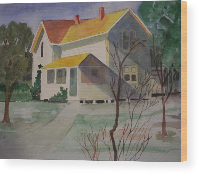 Country Home Rural Landscape Wood Print featuring the painting Country Home by Audrey Bunchkowski