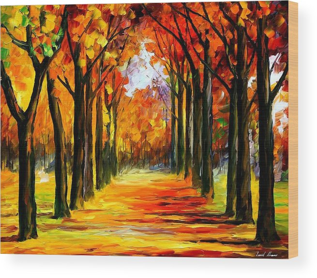 Afremov Wood Print featuring the painting Crimson Alley by Leonid Afremov