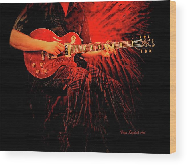 Crimson Guitar Is A Digital Painting. Music And Lights Throughout The Night. Wood Print featuring the digital art Crimson Guitar by Faye English