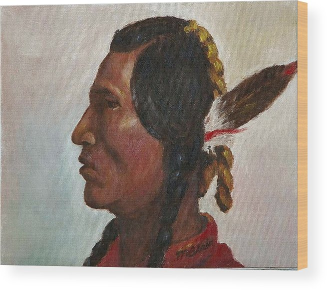 Native American Wood Print featuring the painting Crow Warrior by Merle Blair