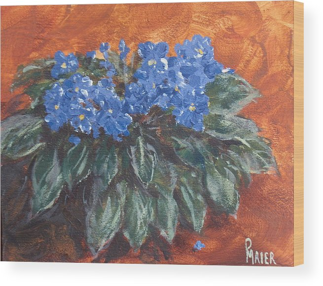 Violets Wood Print featuring the painting D Violets by Pete Maier