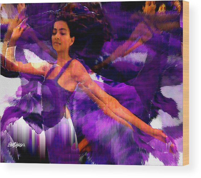 Mystical Wood Print featuring the digital art Dance Of The Purple Veil by Seth Weaver