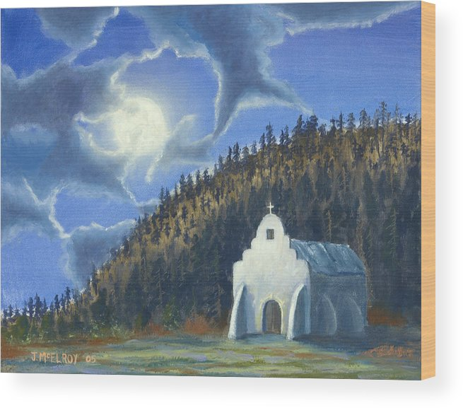 Landscape Wood Print featuring the painting Dancing In The Moonlight by Jerry McElroy