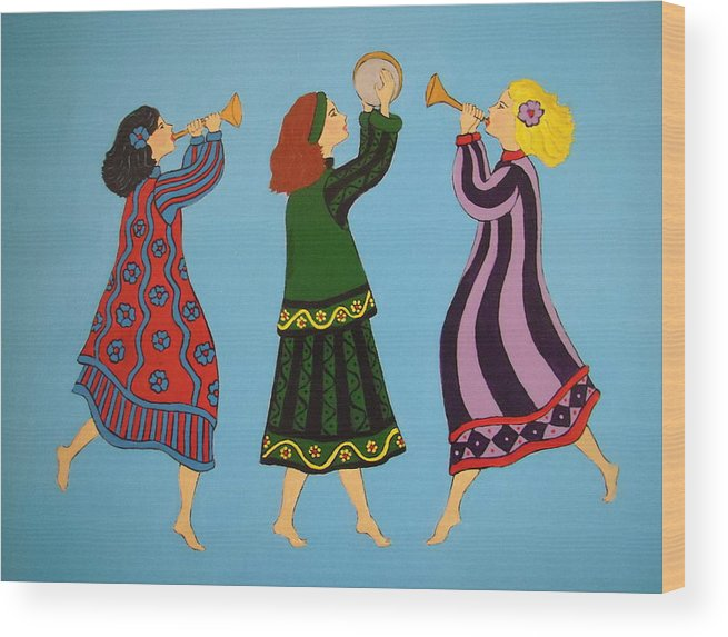 Girls Wood Print featuring the painting Dancing To The Music by Stephanie Moore